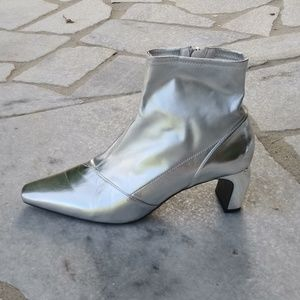 Zara silver metallic booties